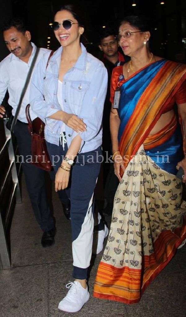 deepika padukone spotted at airport in casual attire