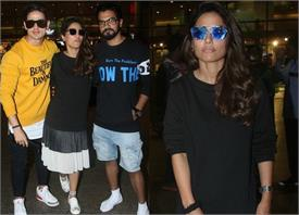 hina khan spotted at airport with priyank and rockey