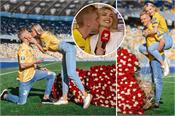 zinchenko proposes to his stunning tv presenter girlfriend in stadium