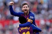 barcelona reached the top with messi  s 4 goals