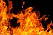 when cylinder caught fire  2 huts were burnt to ashes