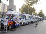 ambulances seen in long queues outside civil hospital in ahmedabad