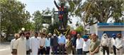 dc and staff offerings made on the statue of ambedkar