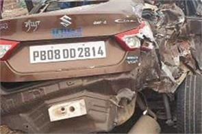 car and truck collision in kishangarh chowk due to fog