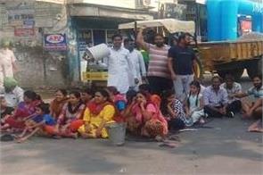 sangrur water problem bus stand road jam