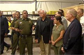 vice president mike pence arrived at the refugee camp in mexico  s border