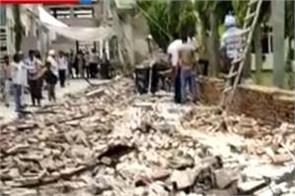 bathinda  school wall  collapsed  7 people injured  1 died