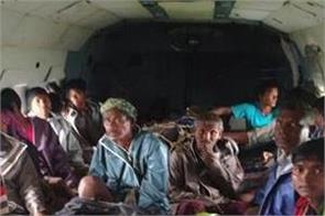 gujarat  helicopters rescue people stuck in flood