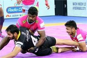 pro kabaddi league  telugu defeats jaipur pink 51 31