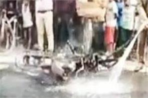 delhi person bike fires after fine