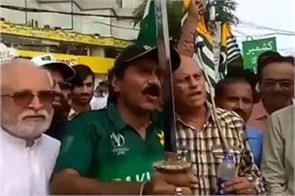 miandad threatens india with sword at kashmir rally