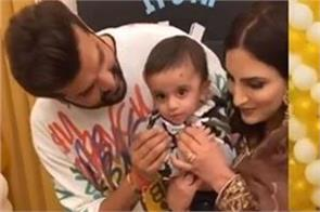 yuvraj and mansi celebrated their son hredaan six month birthday