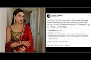 himanshi khurana still angry on air india after their apologies