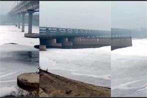unhygienic yamuna again  poisonous white foam is flowing in the river