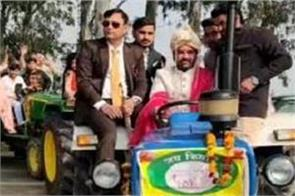 farmers protest support groom barat in tractor