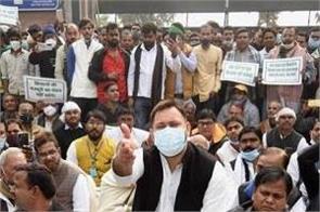 agriculture law rjd leader tejashwi yadav dharna farmers protest