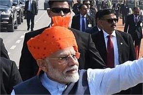 narendra modi republic day saffron color turban