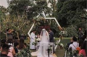 the couple get married near the volcano
