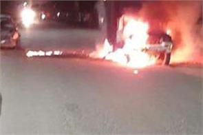 road accident hoshiarpur milk van fire