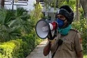 delhi police alert coronavirus loudspeaker park visit