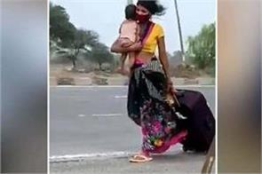 women walking 1 000 km with 9 month child to indore
