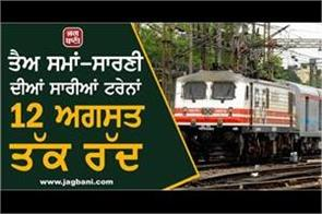 all trains on regular schedule canceled till 12 august