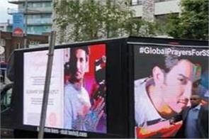 sushant london fans pay tribute to ssr by featuring his pics on a truck