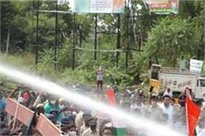 police water shower in panipat on tractor rally