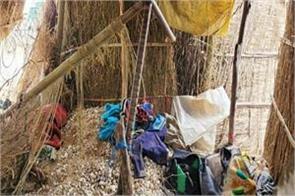 tipper overturned on hut