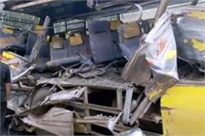 hot ash truck falls on bus in rewa 5 dead