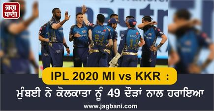 IPL 2020 MI vs KKR : ਮੁੰਬਈ ਨੇ ਕੋਲਕਾਤਾ ਨੂੰ 49 ਦੌੜਾਂ ਨਾਲ ਹਰਾਇਆ