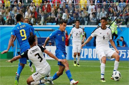 ਫੀਫਾ ਵਰਲਡ ਕੱਪ : ਬ੍ਰਾਜ਼ੀਲ ਨੇ ਕੋਸਟਾ ਰਿਕਾ ਨੂੰ 2-0 ਨਾਲ ਹਰਾਇਆ