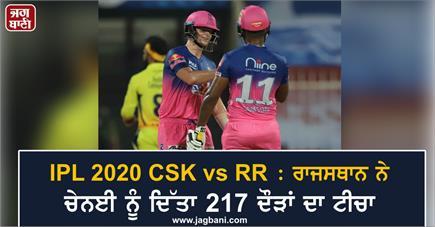 IPL 2020 CSK vs RR : ਰਾਜਸਥਾਨ ਨੇ ਚੇਨਈ ਨੂੰ ਦਿੱਤਾ 217 ਦੌੜਾਂ ਦਾ ਟੀਚਾ