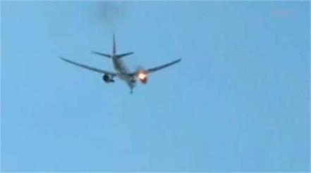 aircraft boeing 777 caught on fire mid flight