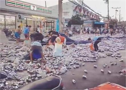 thailand  beer truck overturned