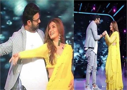 raveena tandon romantic dance on tip tip barsa pani with prabhas