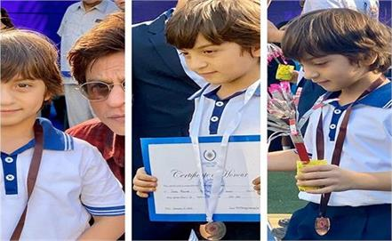 proud father shah rukh khan cheers for his   gold medal   abram