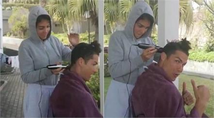 cristiano ronaldo cuts hair from girlfriend rodriguez