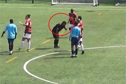 angry footballer hits indian referee