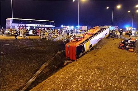 six ukrainians killed  35 injured in bus accident in poland   kiev