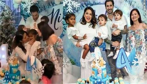 sunny leone  s daughter nisha kaur weber  s birthday party