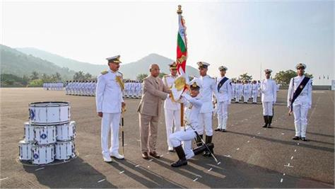indian naval academy awarded president  s colour