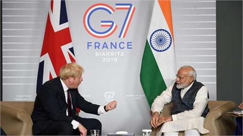 after the g 7 summit  modi talks to his british counterpart johnson