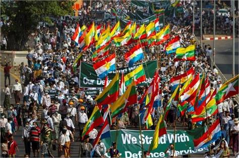 attack on those opposing rally coup in support of army in myanmar
